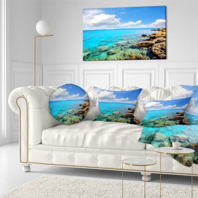 Bright Summer Day in Sea Seascape Throw Pillow Size: 16 x 16