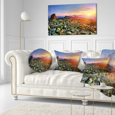 Bright Sun in Carpathian Mountains Landscape Photography Throw Pillow Size: 16 x 16