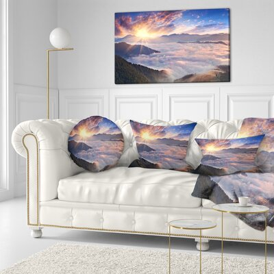 Bright Sun in Misty Mountains Landscape Photography Throw Pillow Size: 16 x 16