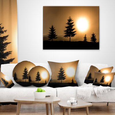 Bright Sunrise Tree Silhouette Landscape Printed Throw Pillow Size: 20 x 20