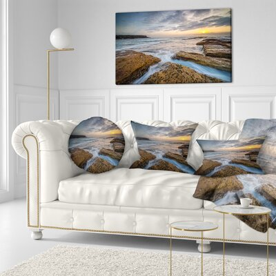 Bright Sydney Coastline View Seascape Throw Pillow Size: 16 x 16