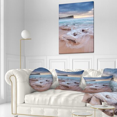 Bright Sydney Sea with Long Waves Seashore Throw Pillow Size: 20 x 20