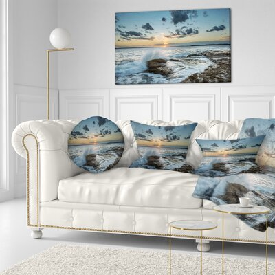 Bright Sydney Sunset over Sea Seascape Throw Pillow Size: 16 x 16