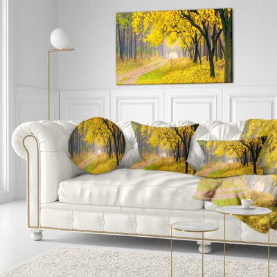 Bright Autumn Forest Landscape Photo Throw Pillow Size: 20 x 20