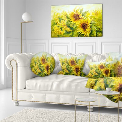 Bright Sunny Sunflowers Floral Painting Throw Pillow Size: 16 x 16