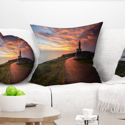 Punta Nariga Lighthouse Spain Seashore Photo Pillow Size: 18 x 18, Product Type: Throw Pillow