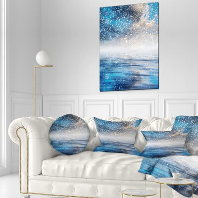 Sky Reflection in the Lake Skyline Photography Throw Pillow Size: 16 x 16