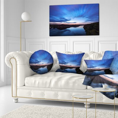 Night Sky with River Landscape Photo Throw Pillow Size: 16 x 16