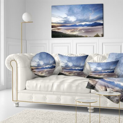 Sky and Lit up Villages Landscape Photo Throw Pillow Size: 16 x 16