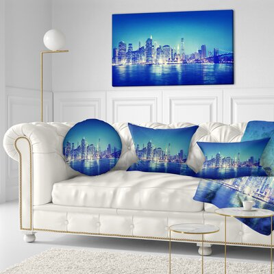 New York City at Night Panorama Cityscape Throw Pillow Size: 16 x 16