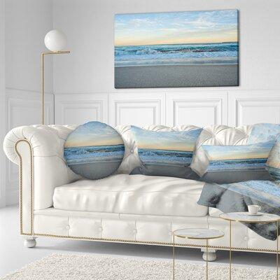 Splashing Scene Beach Seashore Throw Pillow Size: 16 x 16