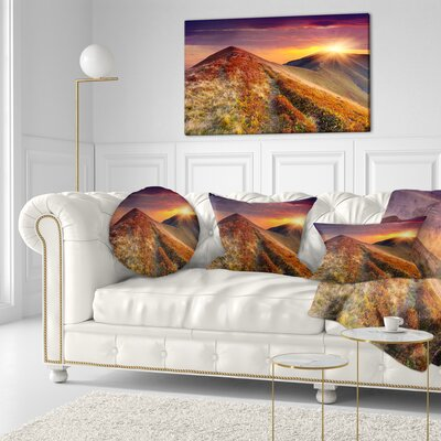 Autumn Hills with Grass Landscape Photography Throw Pillow Size: 16'' x 16''