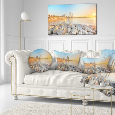 Barceloneta Beach in Barcelona Seashore Photo Throw Pillow Size: 20 x 20
