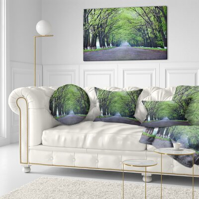 Arched Trees over Country Road Landscape Photography Throw Pillow Size: 16 x 16