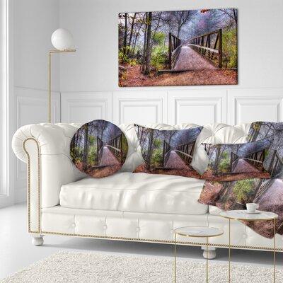 Beautiful Bridge over Creek Landscape Photo Throw Pillow Size: 20 x 20