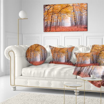 Beautiful Trees with Fallen Leaves Landscape Photography Throw Pillow Size: 20 x 20
