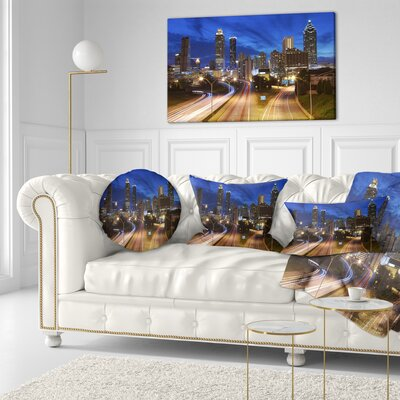 Atlanta Skyline Twilight Hour Cityscape Throw Pillow Size: 20 x 20