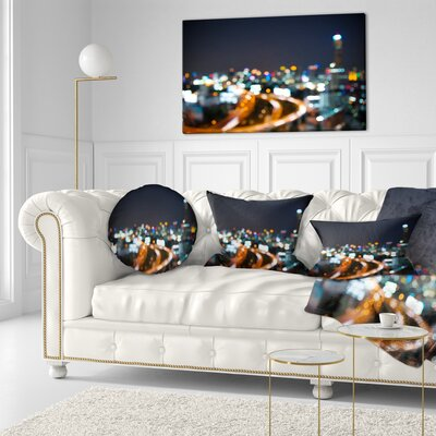 Bangkok City at Twilight Cityscape Throw Pillow Size: 20 x 20