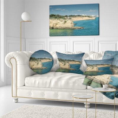 Armacao de Pera Algarve Beach Seascape Throw Pillow Size: 16 x 16