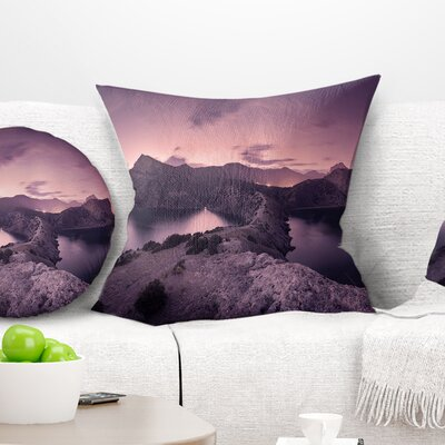 Night Sky at Mountains Landscape Photography Pillow Size: 18 x 18, Product Type: Throw Pillow