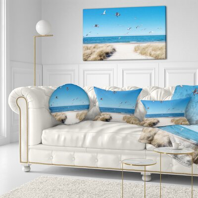 Beach with Seagulls in Rugen Island Seascape Throw Pillow Size: 20 x 20