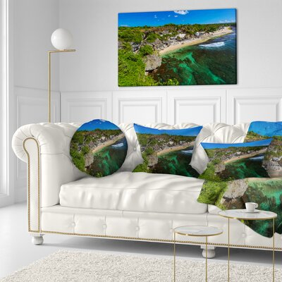 Balangan Beach Bali Indonesia Seascape Throw Pillow Size: 16 x 16
