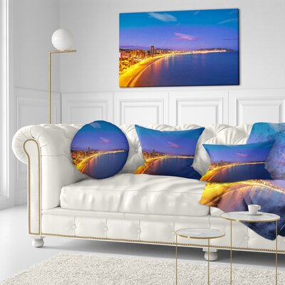 Benidorm Poniente Beach Sunset Seascape Throw Pillow Size: 16 x 16