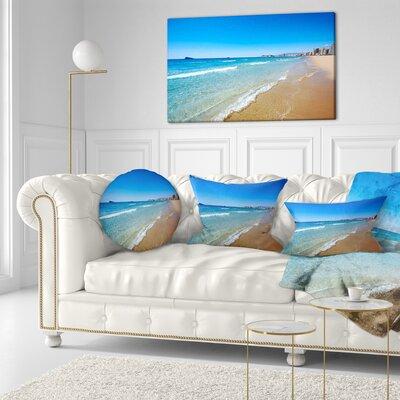 Benidorm Poniente Beach Waves Seascape Throw Pillow Size: 16 x 16