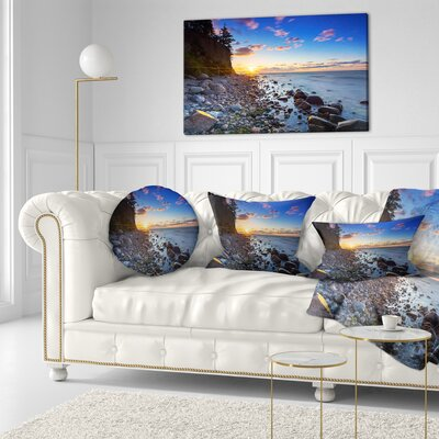 Baltic Sea and Orlowo Cliff at Sunrise Seascape Throw Pillow Size: 16 x 16