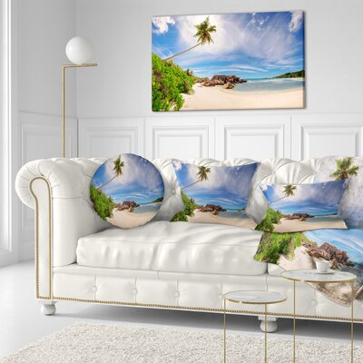 Beautiful Beach at La Digue Seychelles Seashore Throw Pillow Size: 20 x 20