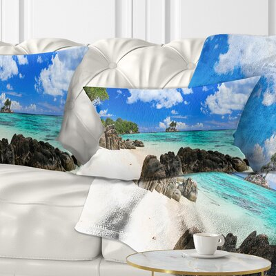 Ideal Beach in Seychelles Seascape Photography Pillow Size: 12 x 20, Product Type: Lumbar Pillow