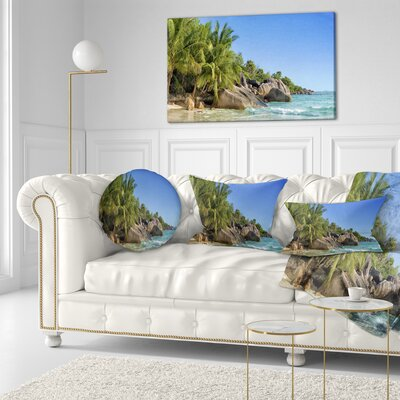 Anse Lazio Praslin Island Seychelles Seashore Throw Pillow Size: 20 x 20