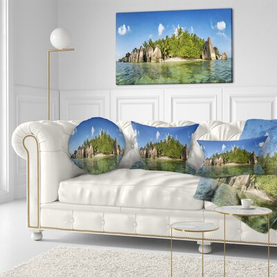Anse Lazio Beach Seychelles Panorama Seashore Throw Pillow Size: 16 x 16