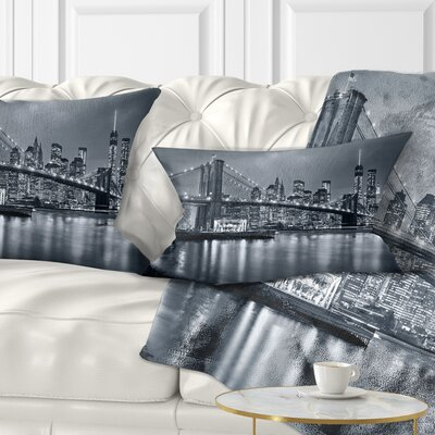 Panorama New York City at Night Cityscape Pillow Size: 12 x 20, Product Type: Lumbar Pillow
