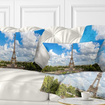 Panoramic Paris Paris Eiffel Towerunder Clouds Cityscape Pillow Size: 12 x 20, Product Type: Lumbar Pillow