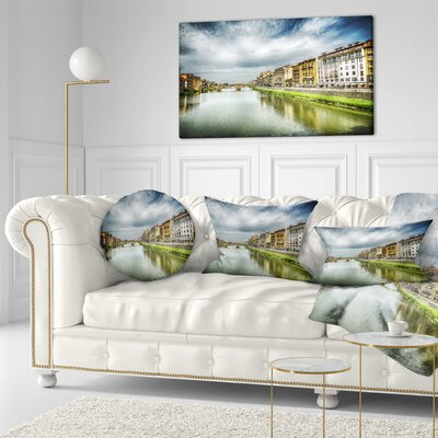 Arno River under Dramatic Sky Cityscape Throw Pillow Size: 20 x 20