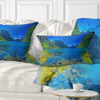Panoramic View of Norwegian Fjord Landscape Printed Lumbar Pillow Size: 12 x 20, Product Type: Lumbar Pillow