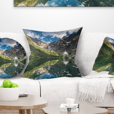Reflection of Mountain Peaks Landscape Printed Pillow Size: 16 x 16, Product Type: Throw Pillow