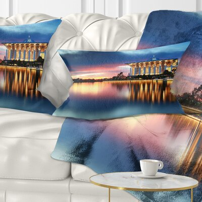 Iron Mosque Malaysia Panorama Seashore Photo Pillow Size: 12 x 20, Product Type: Lumbar Pillow