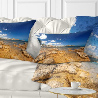 Paradise Beach in Ibiza Island Seashore Photo Pillow Size: 12 x 20, Product Type: Lumbar Pillow