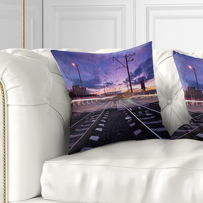 Rail Crossing with Blur Car Lights Cityscape Photo Pillow Size: 18 x 18, Product Type: Throw Pillow