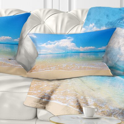 Large Clouds over Calm Beach Seashore Photo Pillow Size: 12 x 20, Product Type: Lumbar Pillow