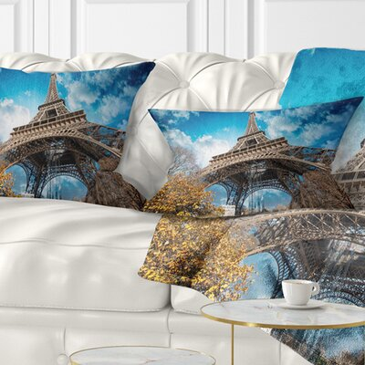 Paris Paris Eiffel Towerand Paris Sky View Cityscape Pillow Size: 12 x 20, Product Type: Lumbar Pillow