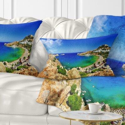 Lindos Bay Greece Panorama Landscape Photography Pillow Size: 12 x 20, Product Type: Lumbar Pillow