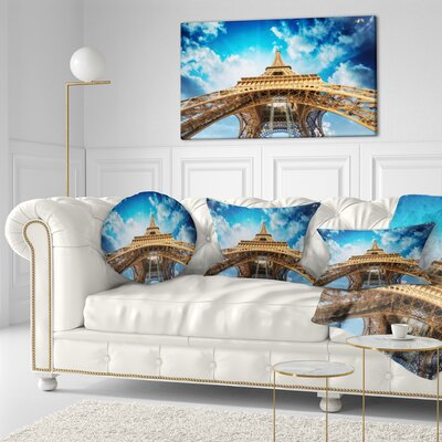 Beautiful View of Paris Eiffel Tower in Paris Cityscape Throw Pillow Size: 16 x 16