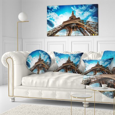 Beautiful Paris Paris Eiffel Towerunder Sky Cityscape Throw Pillow Size: 20 x 20