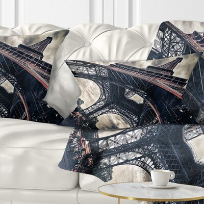 Paris Paris Eiffel Towerin Grungy Dramatic Style Cityscape Pillow Size: 12 x 20, Product Type: Lumbar Pillow