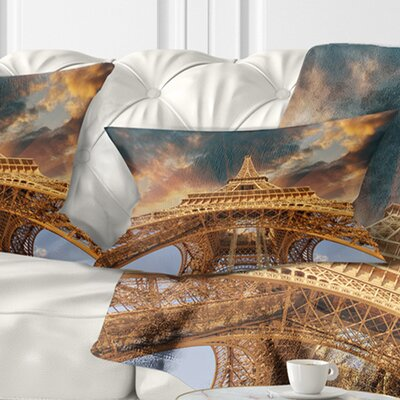 Paris Paris Eiffel Towerin Paris with Sunset Cityscape Pillow Size: 12