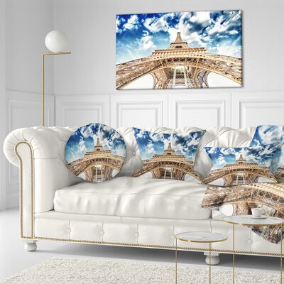 Beautiful View of Paris Eiffel Tower under Clouds Cityscape Throw Pillow Size: 20 x 20