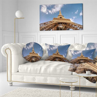 Beautiful View of Paris Eiffel Tower under Calm Sky Cityscape Throw Pillow Size: 16 x 16